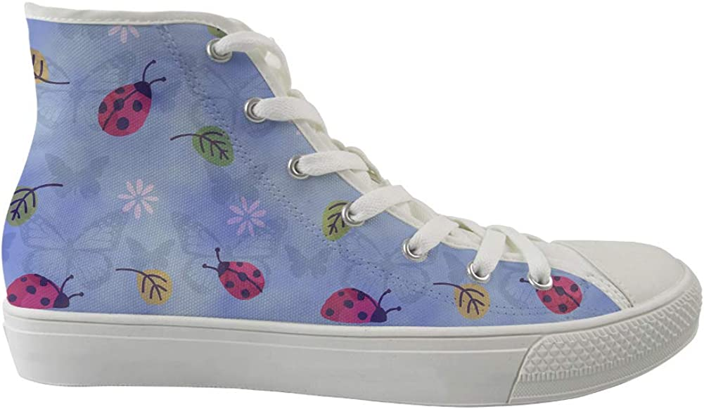 Unisex Casual High-Top Skate Shoes Classic Sneakers Adults Trainers Colorful Leaves Butterfly Ladybug