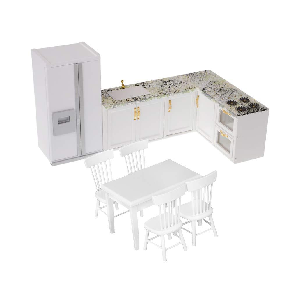 Fenteer Dollhouse Miniature Kitchen Furniture Set 1:12 Scale Model Kitchen Appliance