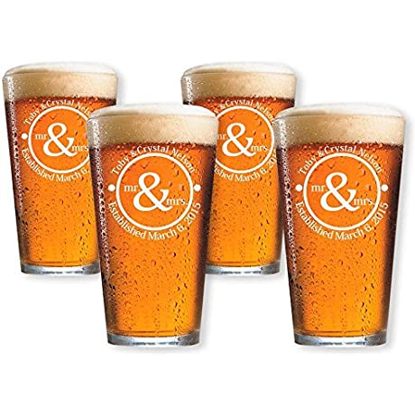 Personalized Beer Glasses Set Of 4