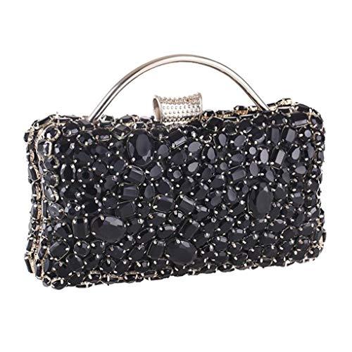 Jancerkmou Crystal Beaded Day Clutches Wedding Purse Rhinestones Handbags Evening Clutch Bags for Women Design B Black