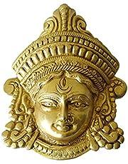 GURU JEE Brass Durga MATA Face Statue MATA Rani Ma Durga Wall Decor Maa Durga Face Idol for Home Decor Puja Temple Mandir Showpiece Gifts