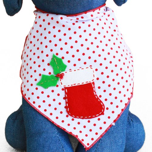 Tail Trends Christmas Dog Bandanas Red Stocking Designer Appliques 100% Cotton