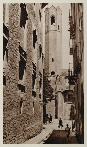 1928 Plaza del Rey Tower Barcelona Spain Architecture - Original Photogravure - Barcelona Tower