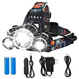 LED Headlamp Flashlight--Juzihao 4 Modes LED Headlight 90º Moving Adjustable Super Bright Waterproof Headlight Rechargeable 18650 Headlight Flashlights with Rechargeable Batteries for Outdoor Hiking Camping Hunting Fishing Cycling Running Riding Outdoor Sports