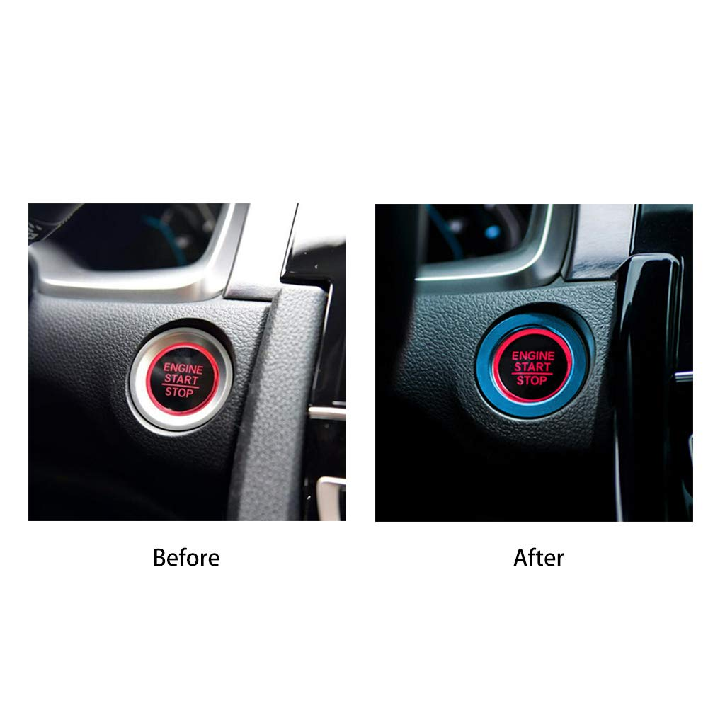 Thenice for 10th Gen Honda Civic Start//Stop Push Button Cover Ring Anodized Aluminum Keyless Car Engine Power Control Trims for Civic 2016 2017 2018 2019 Red