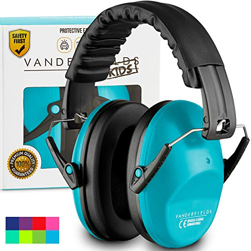Vanderfields Earmuffs for Kids - Hearing Protection Muffs for Children Small Adults Women - Foldable Design Ear Defenders Protector with Adjustable Padded Headband for Optimal Noise Reduction - Blue (Earphones Noise Reducing)