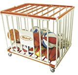Markwort 36 Ball Capacity Basketball Steel Cage, Orange/White
