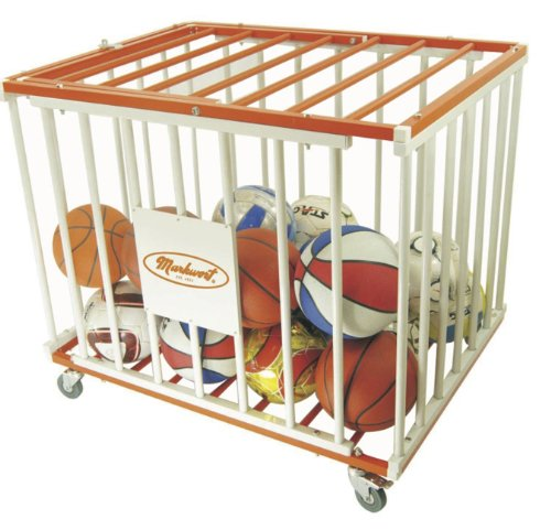 Markwort 36 Ball Capacity Basketball Steel Cage, Orange/White by Markwort