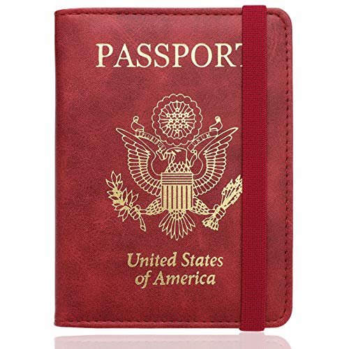 WALNEW RFID Passport Holder Cover Traveling Passport Case (E-Red)