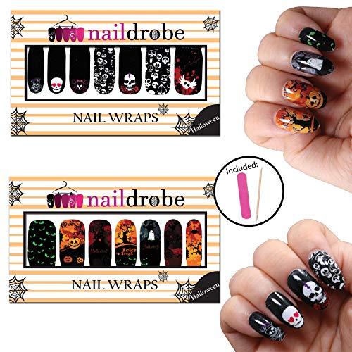 Naildrobe Halloween Nail Wrap Set (2 Pack) w/Bonus File and Orange Wood Stick