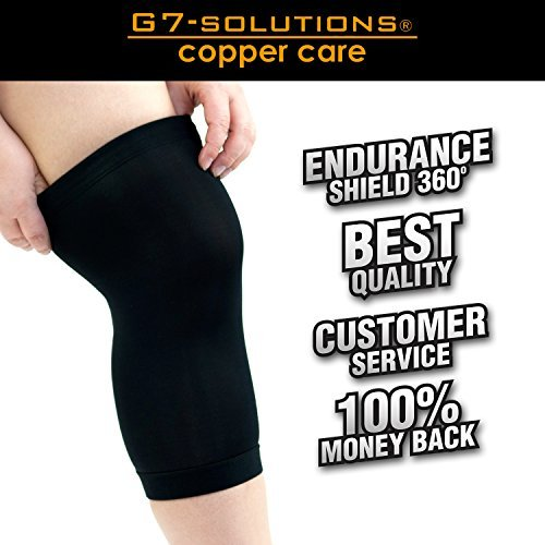 Get7Solutions Copper Knee Brace, #1 Compression Fit Support - GUARANTEED Recovery Sleeve - Best to Wear Anywhere Everyday - Single Medium 15.5 - 17 inches / 39 - 43 cm. (Dk 39 compare prices)