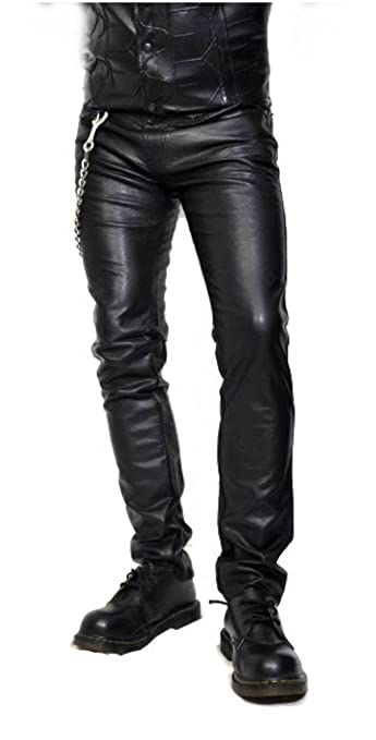 Deluxe Adult Costumes - Men's black faux leather skinny pirate pants