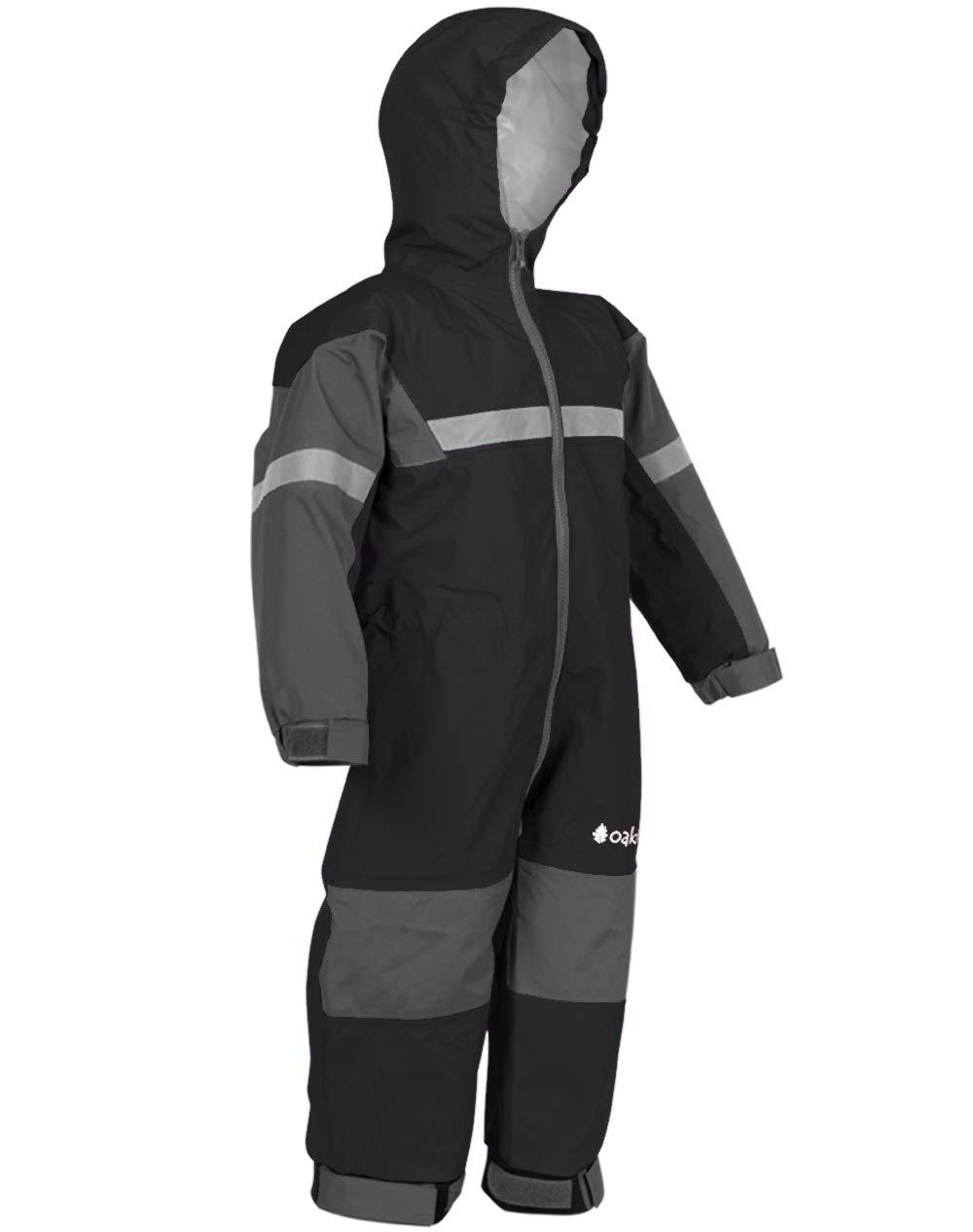 OAKI Rain Suit Kids - Toddler Snowsuit - One Piece Rain Jacket/Pant for Girls & Boys, Black, 4 Toddler by OAKI
