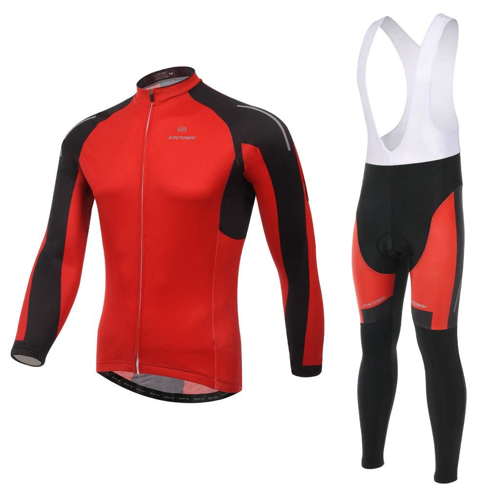 Pinjeer Rote Hohe Elastizität Frühling Radfahren Jersey Kleidung Breathable Herbst Outdoor Fahrrad Reiten Sportswear Jersey Männer Langarm Bib Hosen Sets