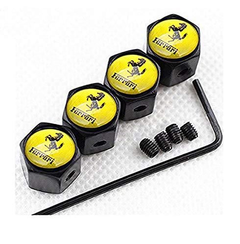 Anti-theft Metal Car Tire Stem Air Valve Caps For Ferrari Emblem Decoration (black) ()