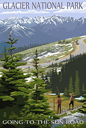 Glacier National Park, Montana - Going to the Sun Road and Hikers (9x12 Art Print, Wall Decor Travel
