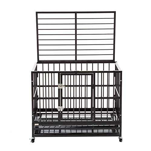 (Silverylake Heavy Duty XL Dog Crate Kennel Playpen Pen Homey Pet Animal with Tray and Wheels)