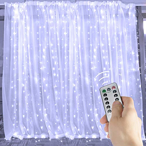 Brightown 10 Ft Window Curtain Icicle Lights with Remote & Timer, 300-LED Fairy Twinkle String Lights with 8 Modes Fits for Bedroom Wedding Party Backdrop Outdoor Indoor Wall Decoration, Pure -