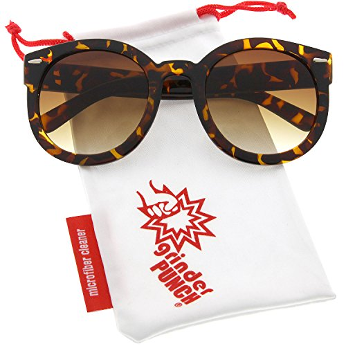 grinderPUNCH Women's Designer Inspired Mod Fashion Oversized Shaped Round Circle Sunglasses - Sunglasses Brown Tortoise