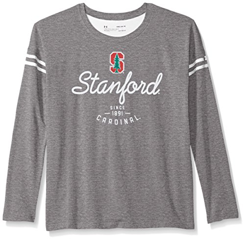 Under Armour NCAA Stanford Cardinal Teen-Girls NCAA Girls L|S Striped Tee, Medium, Rhino Grey Heather