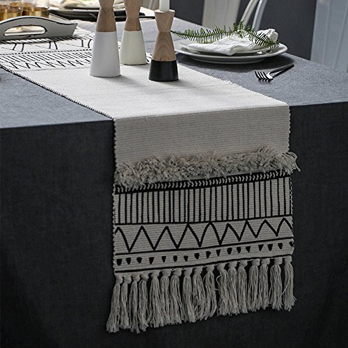 KIMODE Moroccan Fringe Table Runner, Geometric Handmade Woven Tufted Cotton Canvas Fabric Decorative Table Runners Minimalist Home Decor,Black and White,14 in X 87 in by KIMODE
