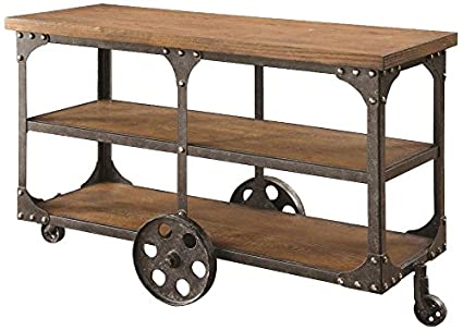 amazon com coaster traditional cherry sofa table with 2 shelves