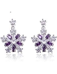 Rhodium Plated Clear Purple Marquise Cut Cubic Zirconia Snowflake Dangle Earrings