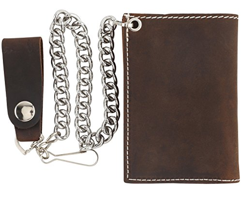 RFID Blocking Men's Tri-fold Vintage Cowhide Top Grain Leather Steel Chain Wallet,Snap closure, Made In USA,Crazy horse brown,DC328