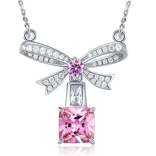 PAKULA 925 Sterling Silver Women Simulated Pink Topaz Solitaire Bow Tie Ribbon Pendant Necklace Chain 18 - Topaz Bow
