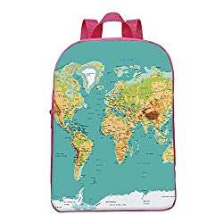 Map Durable Backpack,Map of the World Geography Continents and Countries Physical Cartography Image for School,8.6L x 3.1W x 11.8H