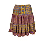 Mogul Interior Women's Swing Skirt Flared Short Tiered Printed Recycled Silk One Size