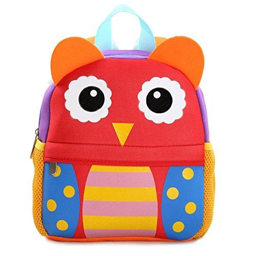 (Kid School Bags Backpack,Rakkiss Child Backpack Toddler Kindergarten Cartoon Shoulder Bookbags Cute Shoulder Bag Tote Red)