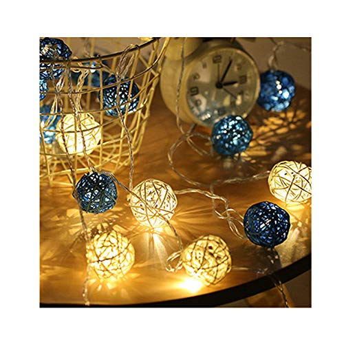 - padom Blue and White 5CM Diameter 4m 20 Rattan Ball LED String Light Warm White and Colorful Fairy Light Holiday Light for Party Wedding Decoration (Without Batteries)