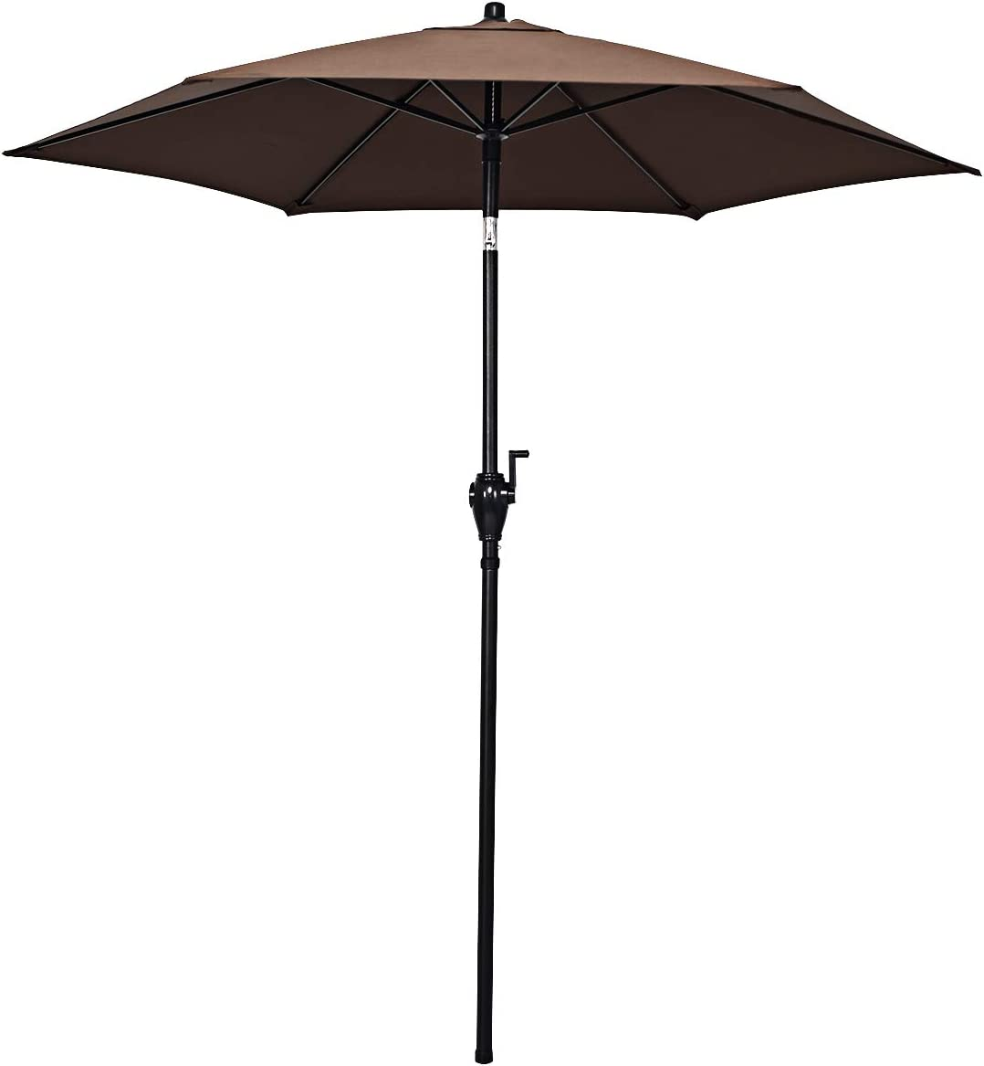 Tangkula 6.6ft Outdoor Patio Umbrella, Garden Market Push Button Tilt and Crank 6 Ribs, Brown