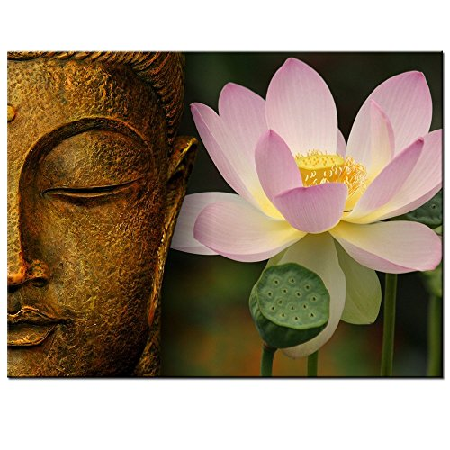 Sea Charm - Buddha Canvas Wall Art,Large Size Zen Lotus Flower Canvas Print with Frame,Modern P