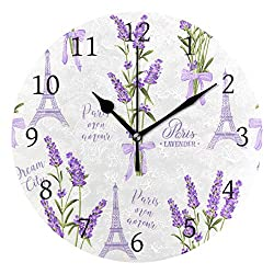 WIHVE Round Wall Clock Eiffel Tower Lavender Flowers Home Art Decor Non-Ticking Numeral Clock for Home Office