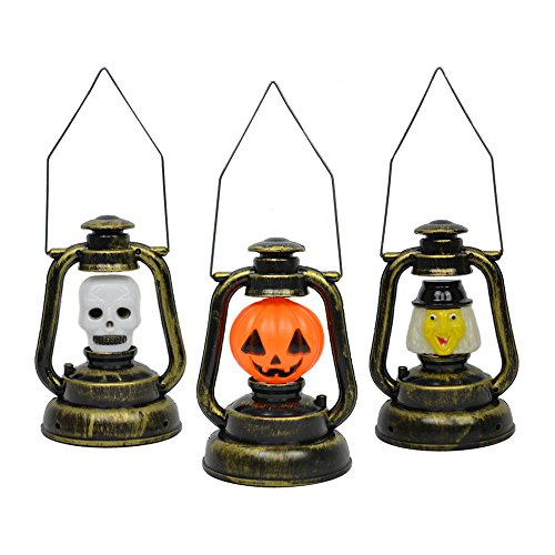 3 PCS Portable Halloween LED Luminous Pumpkin Lamp Skull Light Kerosene Lantern