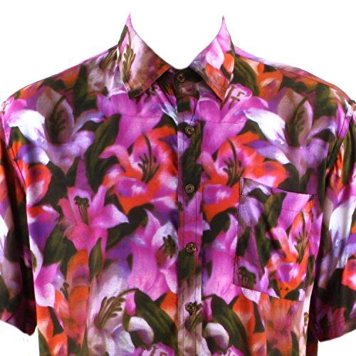 Loud Originals Regular Fit Hemd mit kurzen Ärmeln - Pink & rot Lilie Blumenmuster