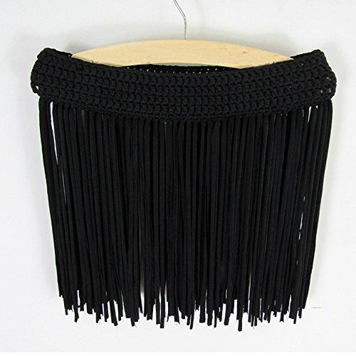 FY Mujeres Borlas Crochet Encaje Pareo Bikini Cover up Mini Skirt Corto Vestido Trajes De Baño Ropa De Playa Encubrir Verano Bañador Beachwear Negro
