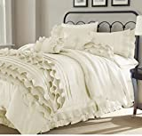 8 Piece Textured Frills Ruffles Design Comforter Set King Size, Featuring Solid Elegant Shabby Chic Printed Pattern Comfortable Bedding, Stylish French Country Unique Girls Bedroom Decor, White