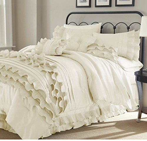 8 Piece Textured Frills Ruffles Design Comforter Set King Size, Featuring Solid Elegant Shabby Chic Printed Pattern Comfortable Bedding, Stylish French Country Unique Girls Bedroom Decor, White by SE