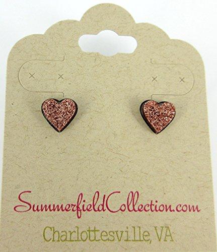 Stainless Steel Brown Rose Gold Glitter Acrylic Heart Stud Earrings (1980s Rose)