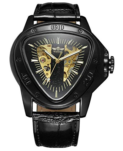 Mechanical Watch Special Fashion Triangle Racing Design Golden Skeleton Dial Wristwatch (Black Gold)