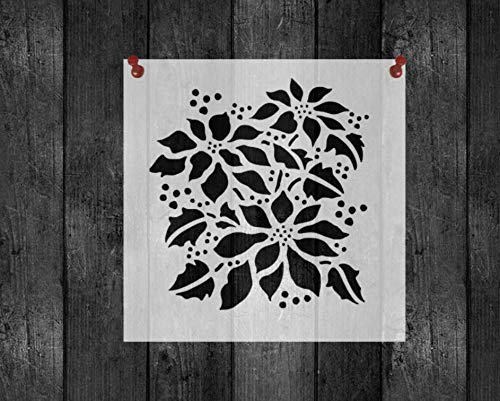 Poinsettia Christmas Reusable Stencil 8x11 Sheet ()