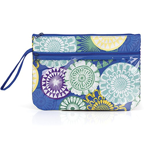 (Zipper Pouch Bag with See-Thru Front Zippered Pouch (Floral Medallions))