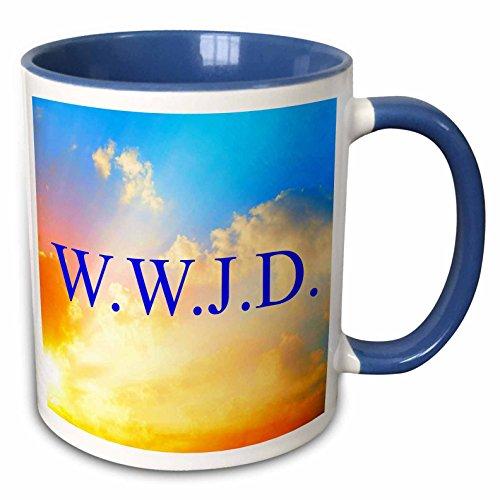 3dRose Xander inspirational quotes - WWJD, blue lettering on sky background picture - 15oz Two-Tone Blue Mug (mug_180140_11)