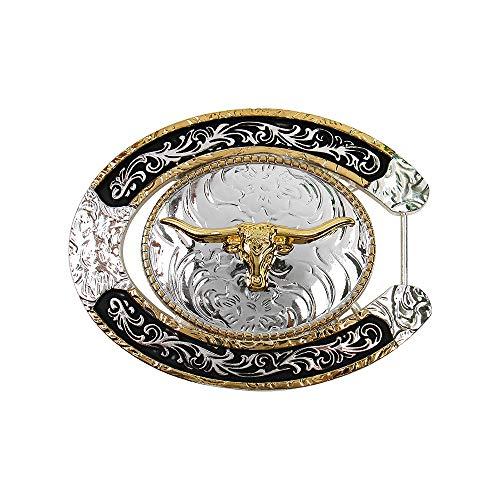 Long Horn Bull Western Belt Buckle Rodeo Texas Cowboy Large belt buckles for Men Women (Western Sheriff Belts)