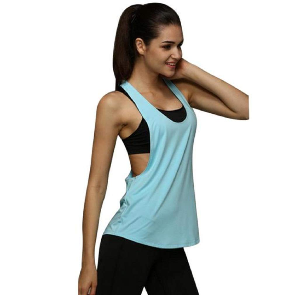 New Sexy Yoga Tank Top, Women's Stretchy Quick Dry Performance Sports Workout Running Top Vest (Light Blue, M)