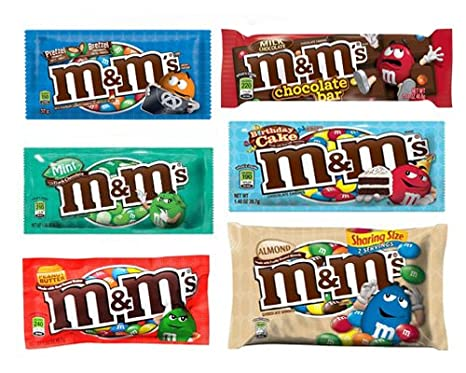 MMs 6 Pack Mix Includes Birthday Cake Almonds Share Bag Peanut