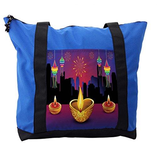 Lunarable Diwali Shoulder Bag, Colorful Festive Celebration, Durable with Zipper by Lunarable